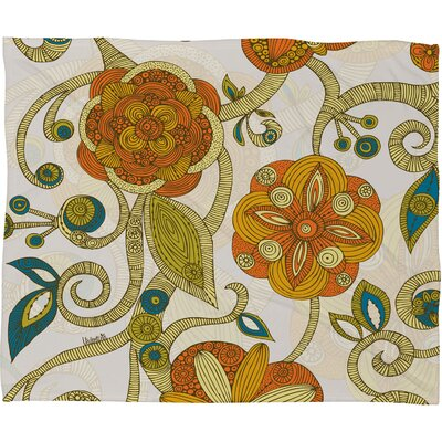 Valentina Ramos Orange Flowers Polyester Fleece Throw Blanket