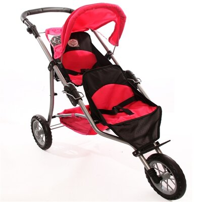 The New York Doll Collection Twin Jogging Doll Stroller