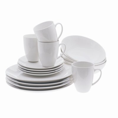 White Basics Coupe 16 Piece Dinnerware Set