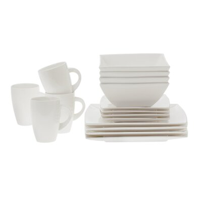 White Basics West Meets East 16 Piece Dinnerware Set