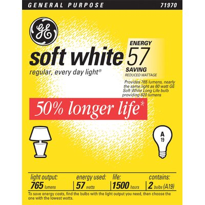 GE Long Life Light Bulb (Pack of 2)