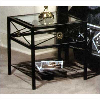 Grace Collection Neoclassic Glass End Table
