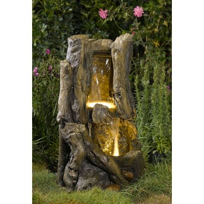 Polyresin and Fiberglass Tiered Stump Fountain