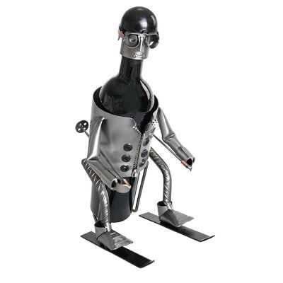 H & K SCULPTURES Downhill Skier Wine Caddy