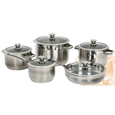 Gourmet Chef Stainless Steel 10-Piece Cookware Set
