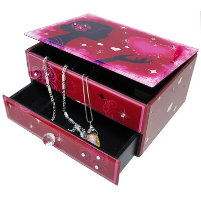 San Francisco Music Box Hearts and Kisses Glass Drawer Box