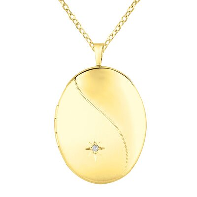 Momento Lockets 0.01 Carat Oval Shaped Locket with Diamond Necklace
