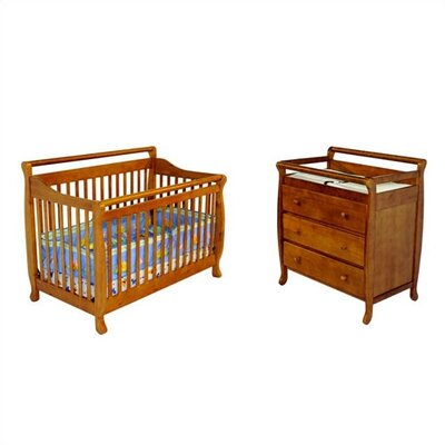 Dream On Me Liberty Two Piece Convertible Crib Nursery Set in Pecan