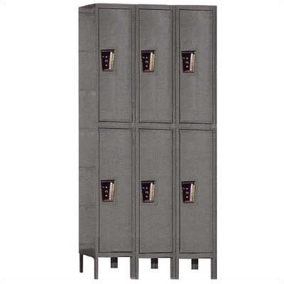 Hallowell Maintenance-Free Quiet Stock Lockers - Double Tier - 3 Sections (Unassembled)