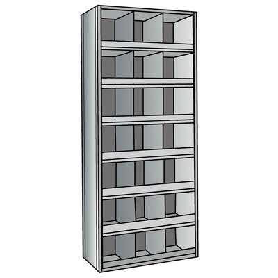 "Hallowell Hi-Tech Metal Bins Shelving with 3"" Front Bins"