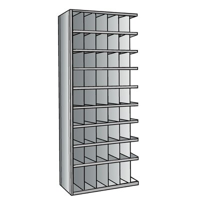 "Hallowell Hi-Tech Metal Bin Shelving Add-on Unit (48) 6"" W x 9"" H, (6) 6"" W x 12"" H Bins"