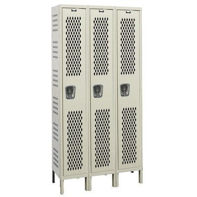 Hallowell Heavy-Duty Ventilated 3-Wide Single Tier Locker (Assembled)
