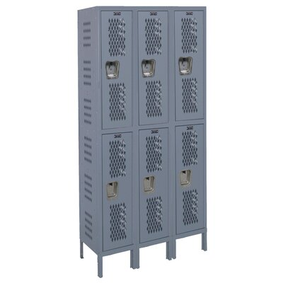 Hallowell Heavy-Duty Ventilated 3-Wide Double Tier Locker (Unassembled)