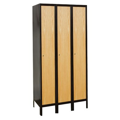 Hallowell Metal-Wood Hybrid Locker Single Tier 3 Wide (Assembled)