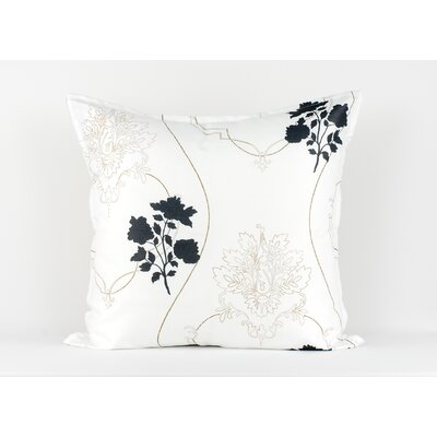 LJ Home White euro sham with floral and scroll accents