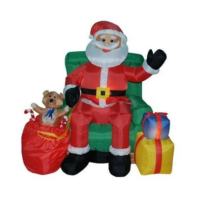 4' Christmas Inflatable Animated Santa Claus in Green Chair