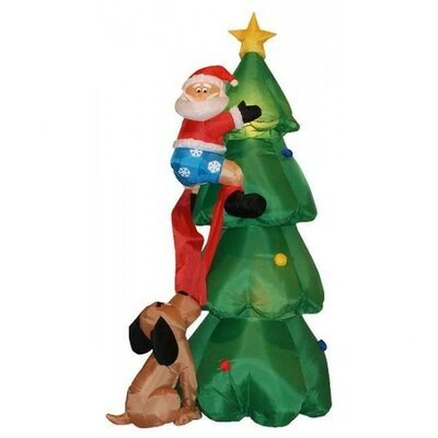 6' Christmas Inflatable Santa Claus Climbing on Christmas Tree