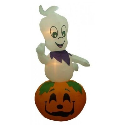 9' Halloween Inflatable Animated Ghost on Pumpkin