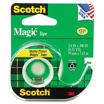 "3M Magic Office Tape with Refillable Dispenser, 3/4"" x 8 Yards, Clear"