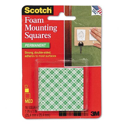 3M Precut Foam Mounting 1 Squares, Double-Sided, Permanent 16 Squares/pack