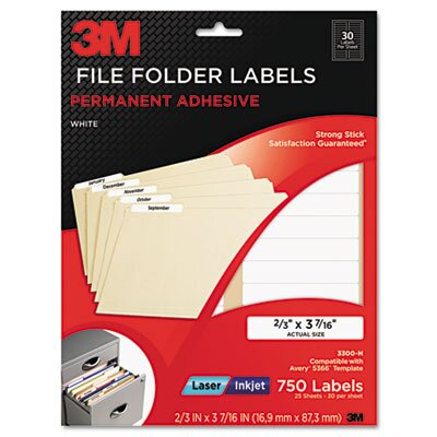 3M Permanent Adhesive Filing Labels, 2/3 x 3 7/16, White, 1500 Labels/Pack