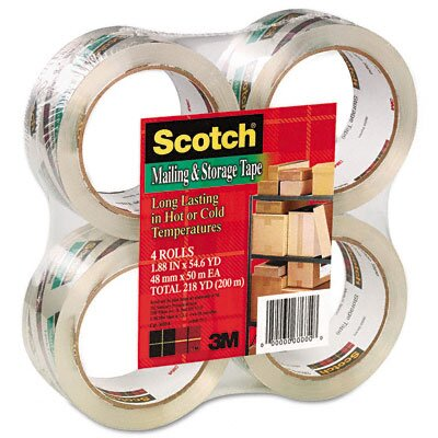 "3M Crystal Clear Mailing & Storage Tape, 2"" x 55 yds, 3"" Core, CR, Four/Box"