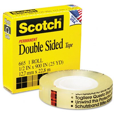 "3M 665 Double-Sided Office Tape, 1/2"" x 25 Yards, 1"" Core, Clear"
