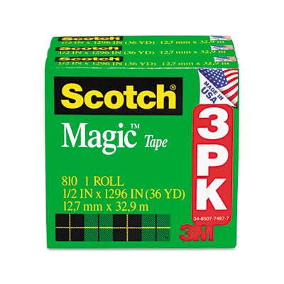 "3M Magic Tape Refill, 1/2"" x 36 Yards, 3/Pack"