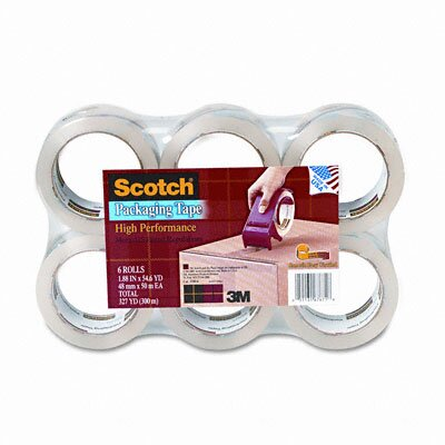 "3M 3500 Packaging Tape, 2"" x 55 Yards, 3"" Core, Clear, Six per Box"