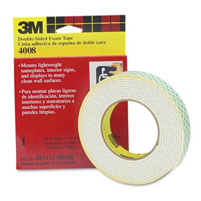 3M Foam Mounting Double-Sided Tape, 1 Wide x 144 Long