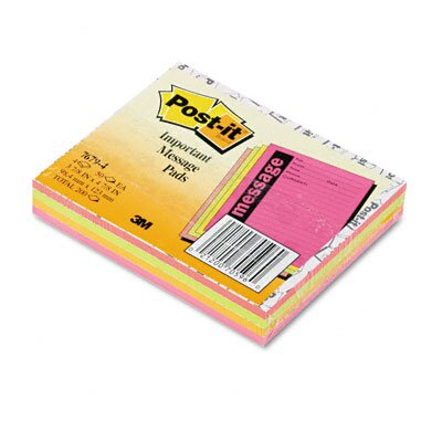 3M Post-It Super Sticky Super Sticky Message Pads, 4 50-Sheet Pads/Pack