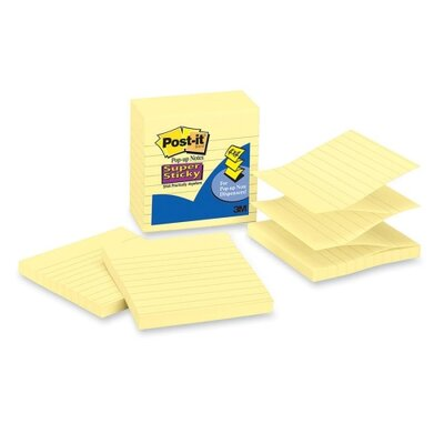 "3M Super Sticky Pop-up Notes, Lined, 4""x4"", 90 Sheets, Yellow, 5-Pack"