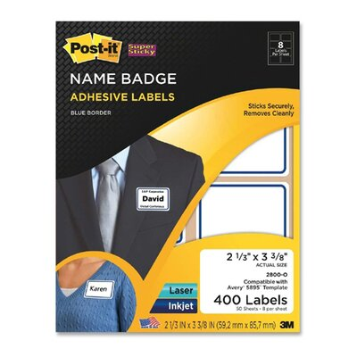 3M Post-it Name Badge Labels with Border (400 Per Pack)