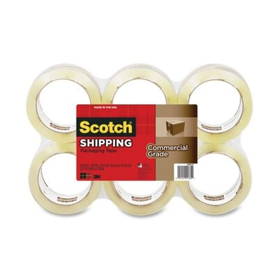 3M Scotch Commercial Grade Shipping Packaging Tape (6 Per Pack)