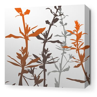 Inhabit Morning Glory Wildflower Stretched Wall Art in Silver and Rust