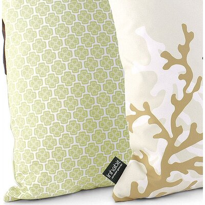Inhabit Coral Throw Pillow in Moss