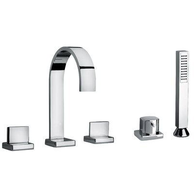 J15 Bath Series Two Lever Handle Roman Tub Faucet and Hand Shower with Classic Ribbon ...