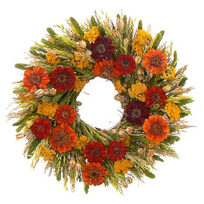 Urban Florals Summer Zinnia Wreath