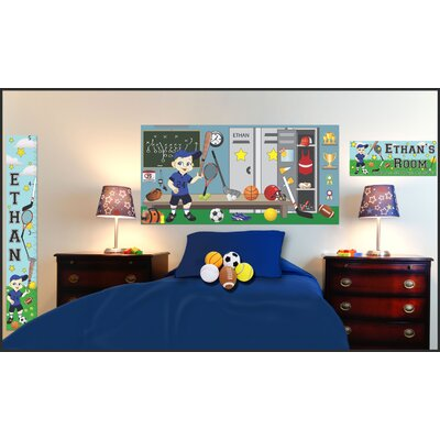 Mona Melisa Designs Personalized Canvas Sports Boy Growth Chart