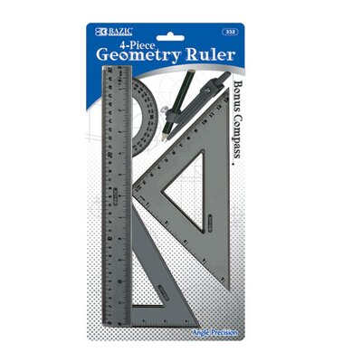 Bazic 4-Piece Geometry Combination Ruler with Compass