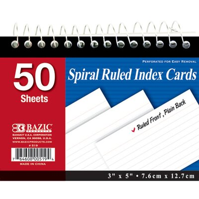 Bazic Spiral Bound Ruled White Index Cards (Set of 36)
