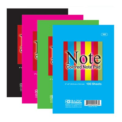 Bazic Colored Note Pads (Set of 48)
