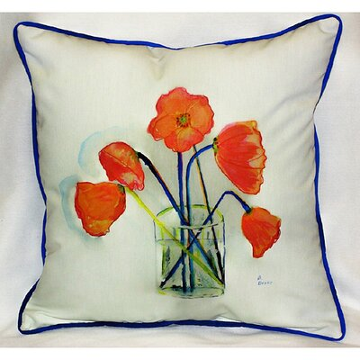 Betsy Drake Interiors Garden Poppies in Vase Indoor / Outdoor Pillow