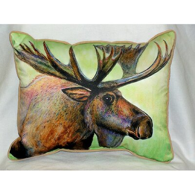 Betsy Drake Interiors Lodge Moose Indoor / Outdoor Pillow