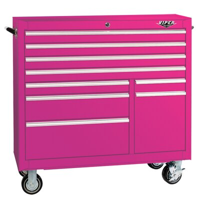 "The Original Pink Box 41"" 9 Drawer Rolling Cabinet"