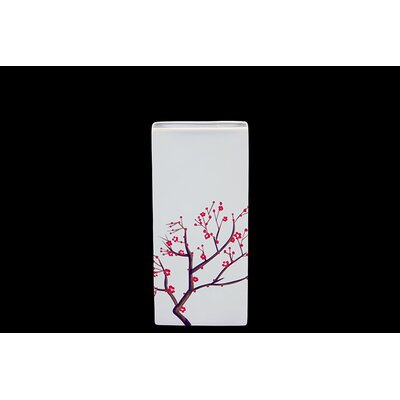 Urban Trends White Japanese Cherry Tree Accent Kye Ceramic Vase in Blooming Branches Finish