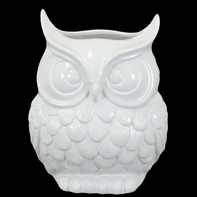 Urban Trends 9&quot; White Ceramic Owl Statue