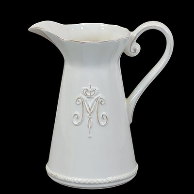 "Urban Trends 9"" White Ceramic Pitcher"