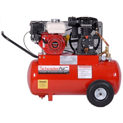 Schrader International 20 Gallon Compressor For Contractors Gas Powered Air Compressor