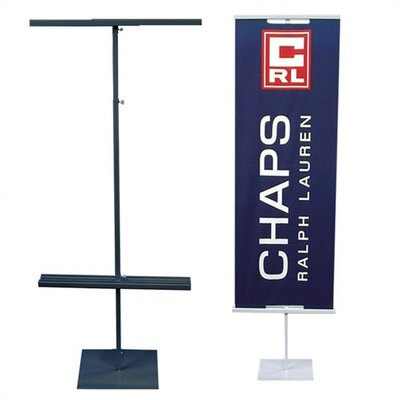 "Pinquist Tool & Die 48"" - 90"" Vertical Adjustable Double-Sided Banner Stand"